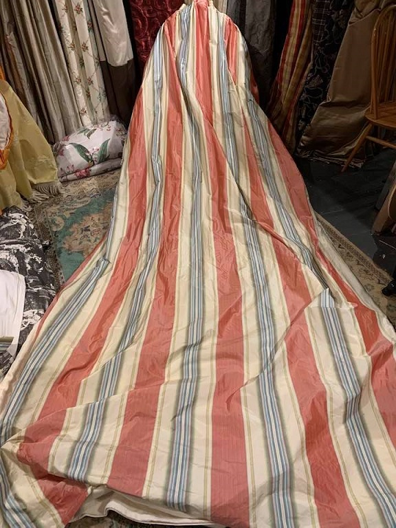 Very Long Striped Goblet Pleat Interlined Curtains W194 D348