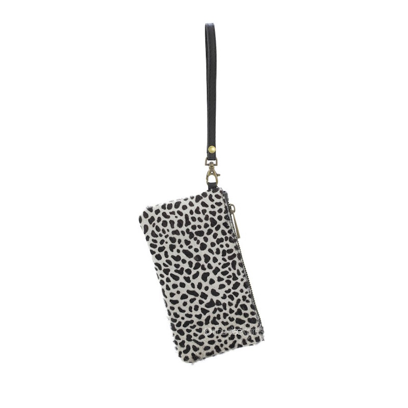 Animal Print Leather Purse - Grey/Black