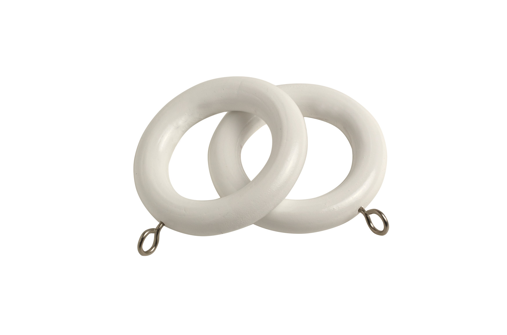 County 28mm Wooden Curtain Rings White - 4 Pack