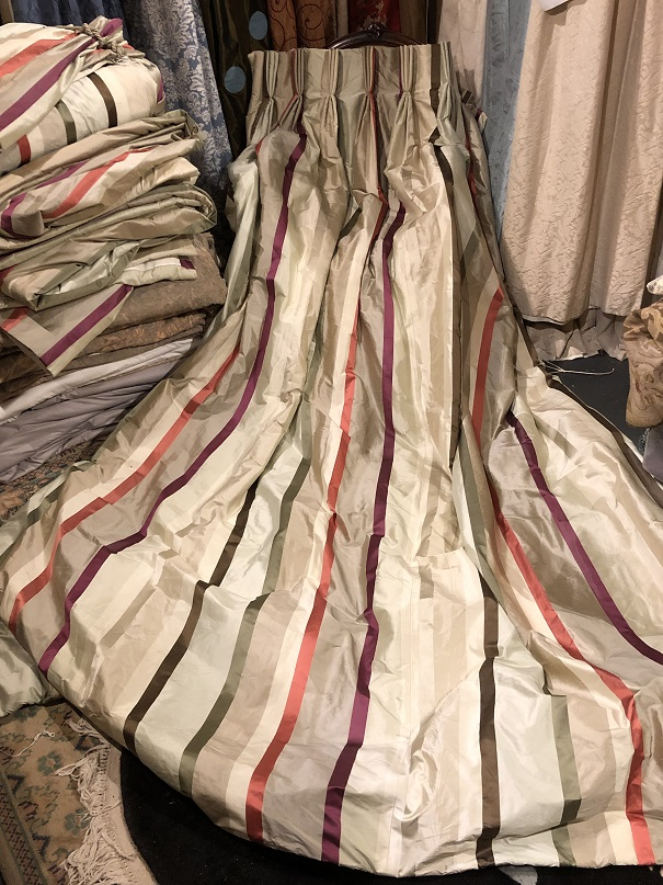 Lovely Long Silk Striped Interlined Curtains W193 D279