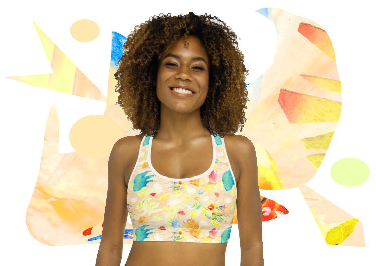 Tropical Wave Padded Sports Bra Top