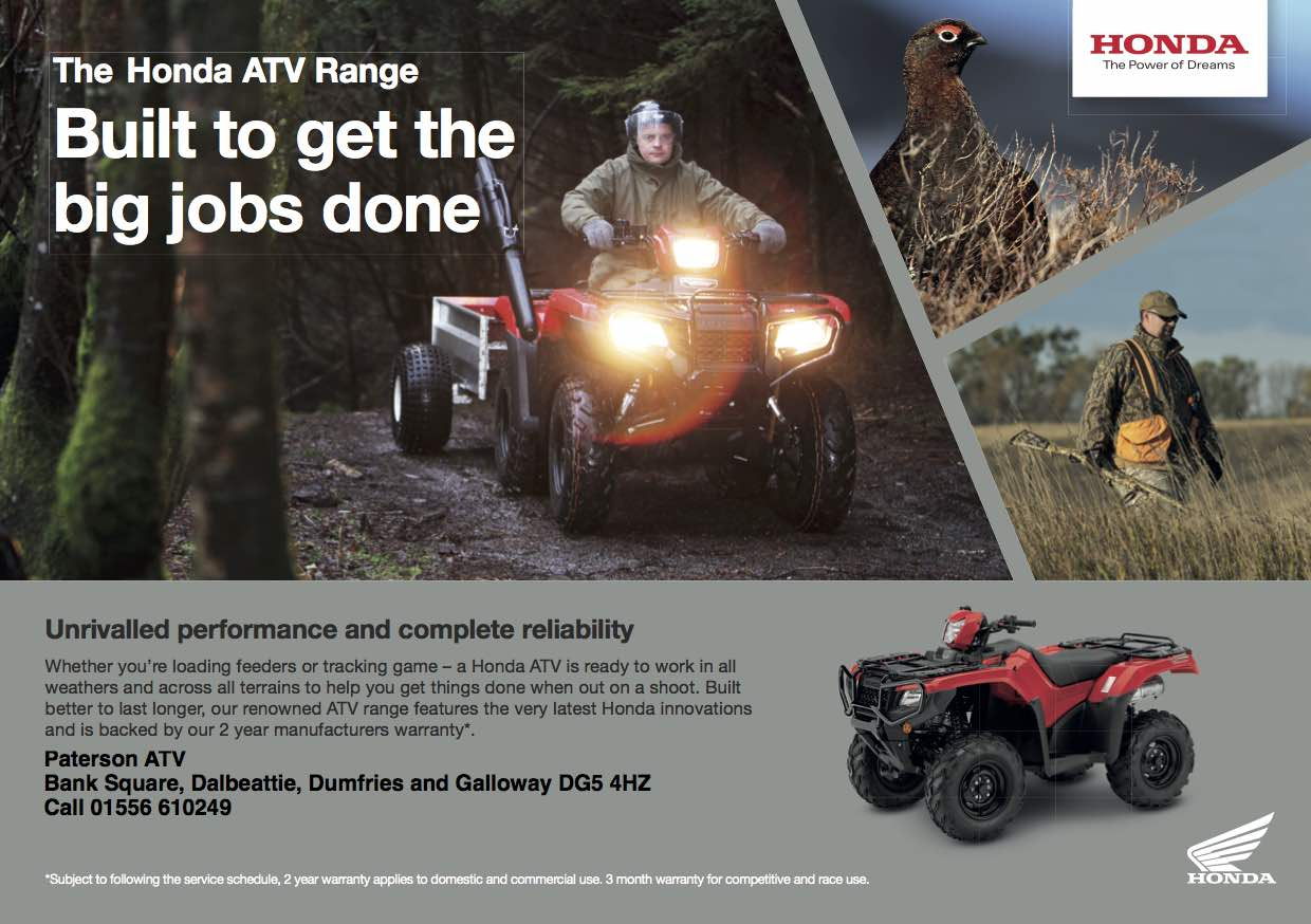 Honda advert for the ATV range on sale at Paterson ATV Dalbeattie