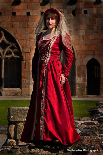 Red medieval gown with red and black heavy beading