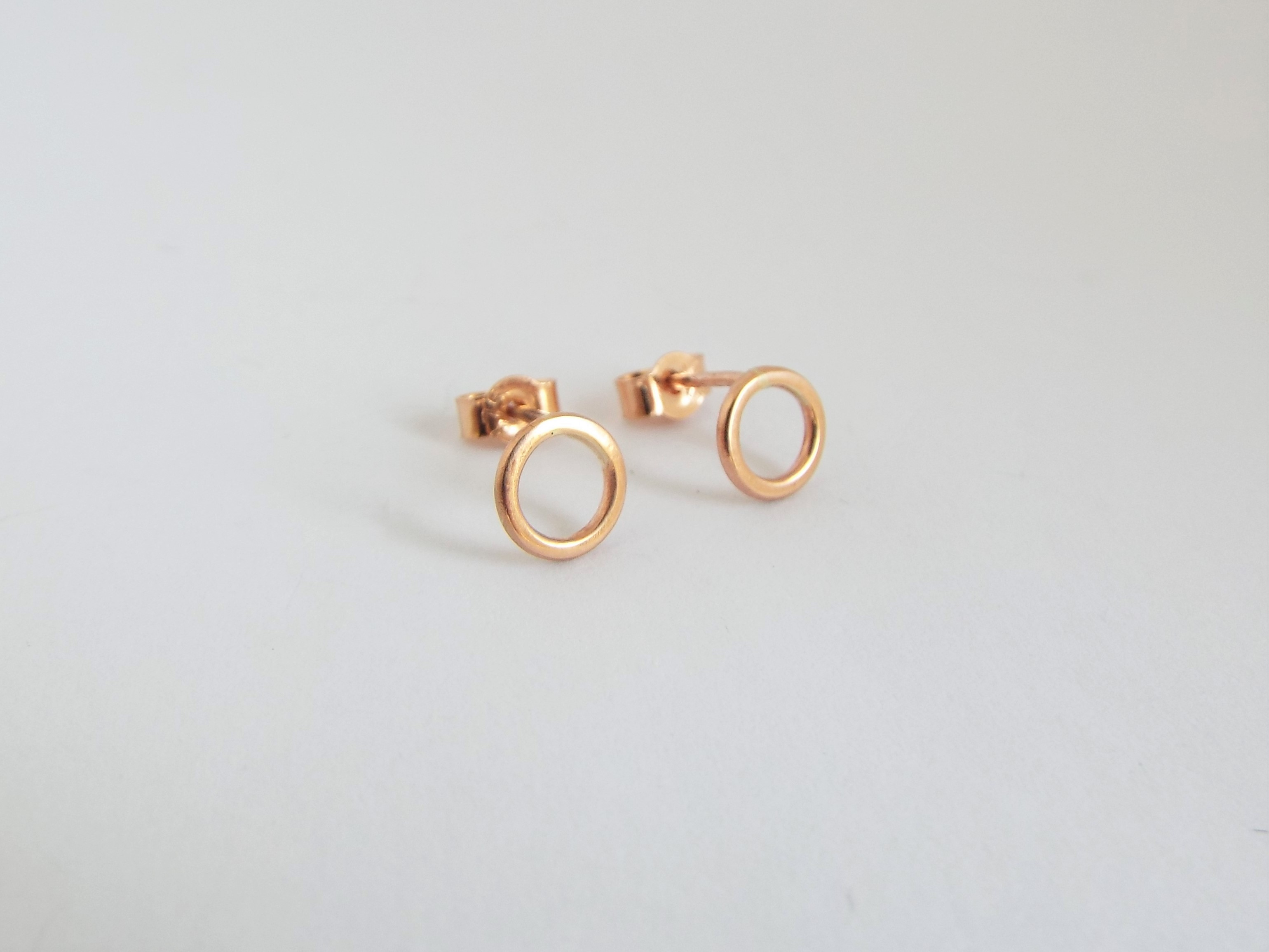 Solid Rose Gold Circle Studs