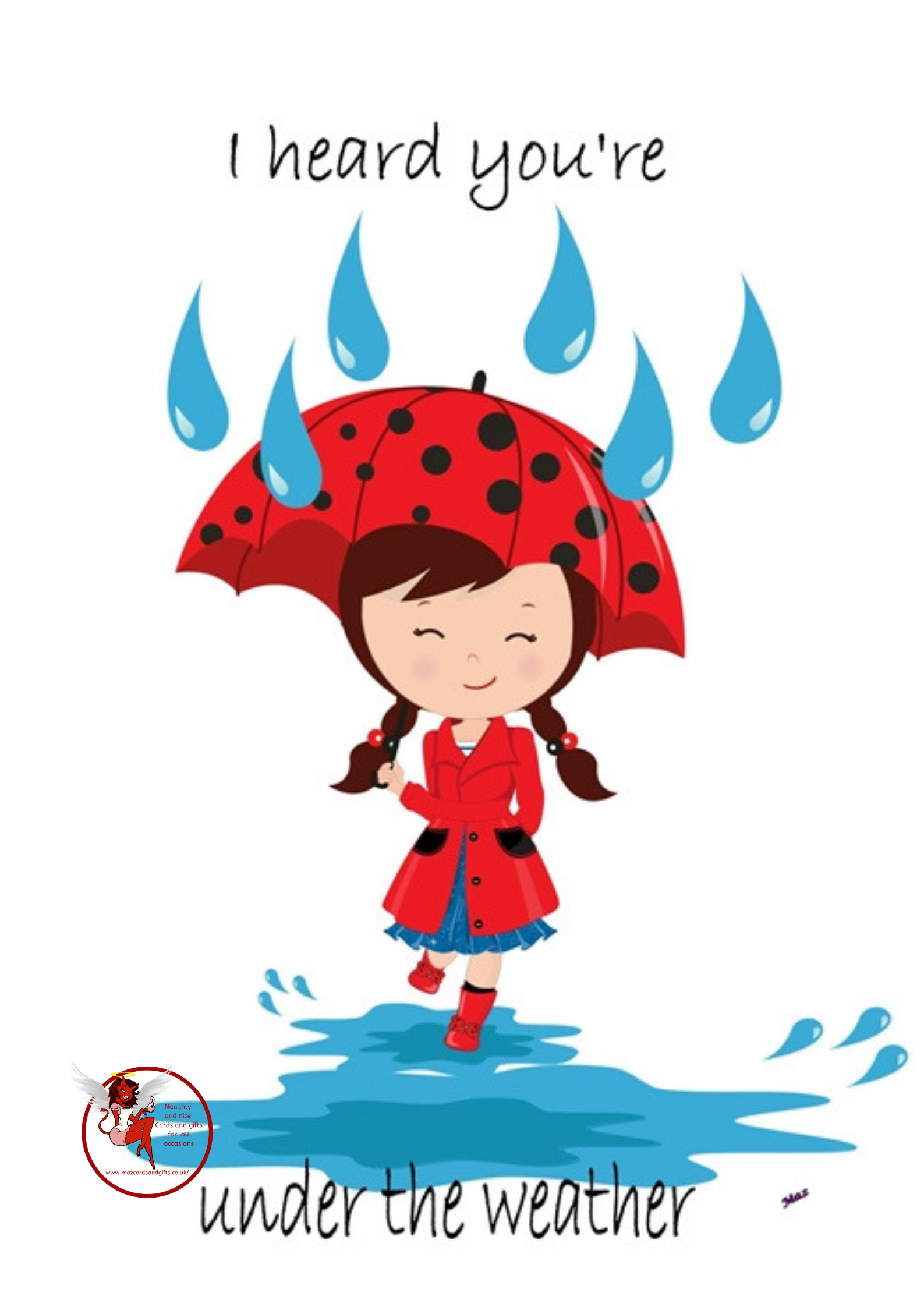 Get well - Girl with brolly - Order No 067