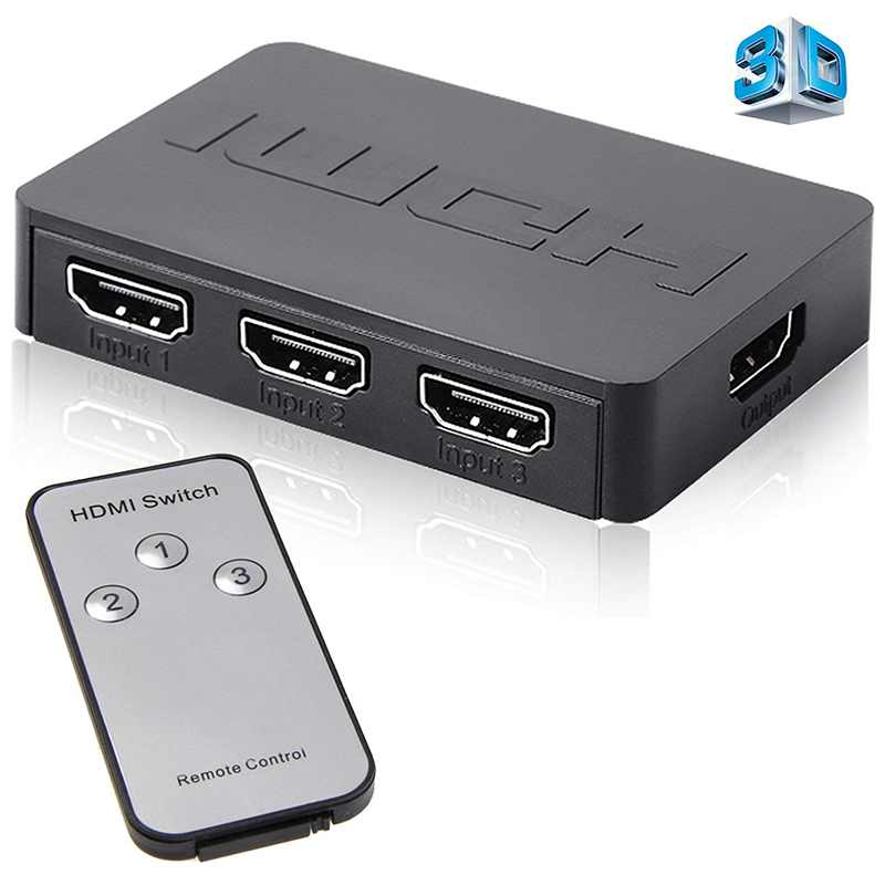 HDMI Switcher Splitter 4K*2K 3D 3 In 1 Out HDMI Switch with Remote