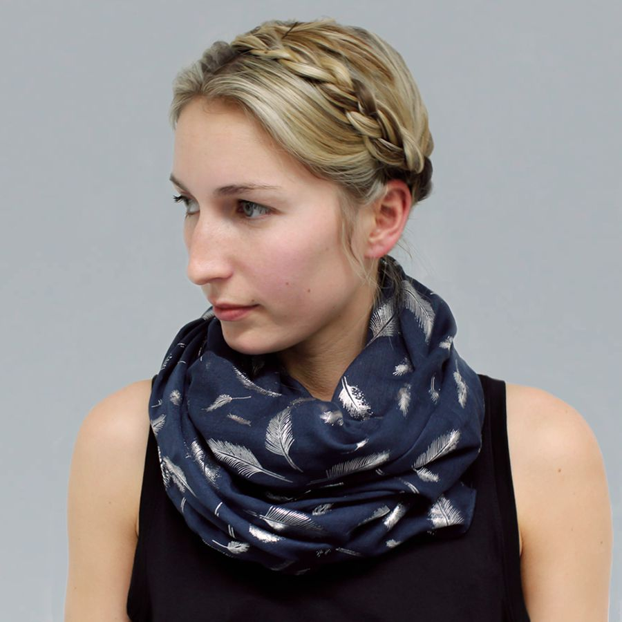POM015 Navy and Silver Foil Feather Print Scarf