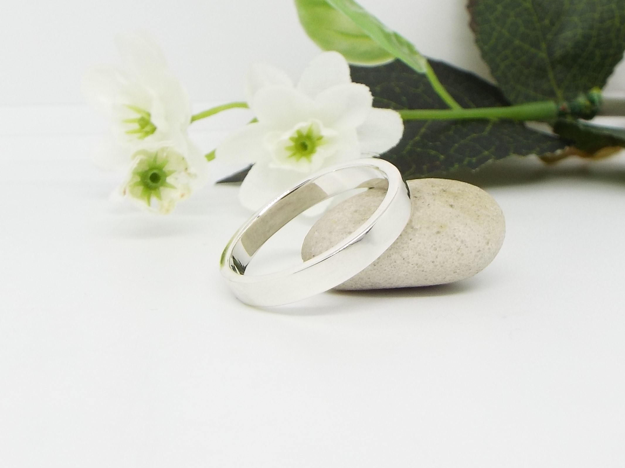 Silver Ring Set - Flat profile - Smooth Polished