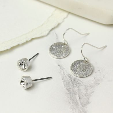 Worn Silver Stud And Disc Earring Set POM024