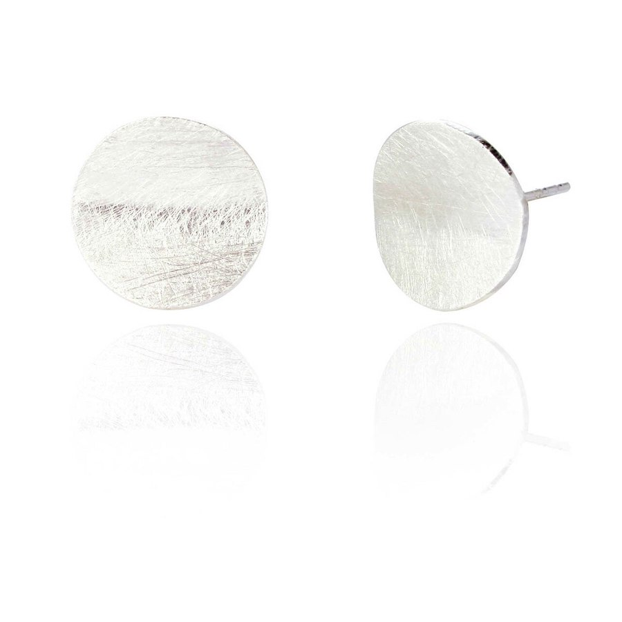 Circular Stud Earrings with Brushed Finish