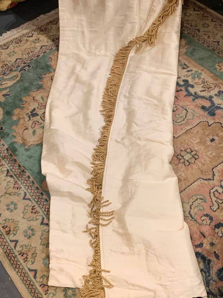 Beautiful Cream Silk Pencil Pleat Curtains W100 D278
