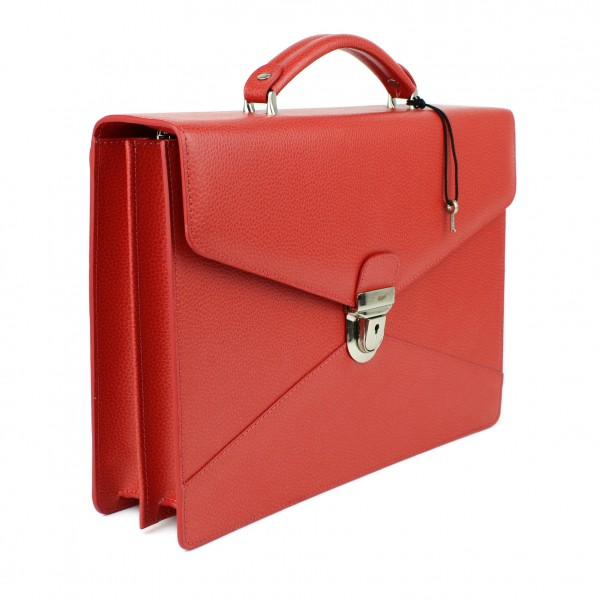 Double Gusset Briefcase in Red, by Laurige