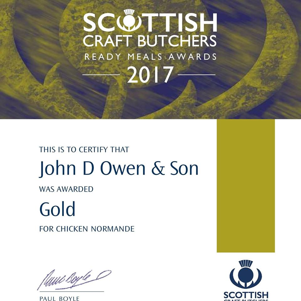 John D Owen butchers Newton Stewart won a Gold Scottish Craft Butchers Ready Meals Award in 2017 for their Chicken Normande