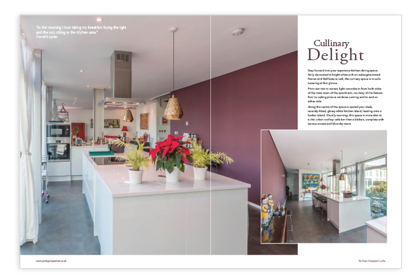 Sample Double Page Spread in the Bespoke Brochure for 56 New Hampton Court Lofts.