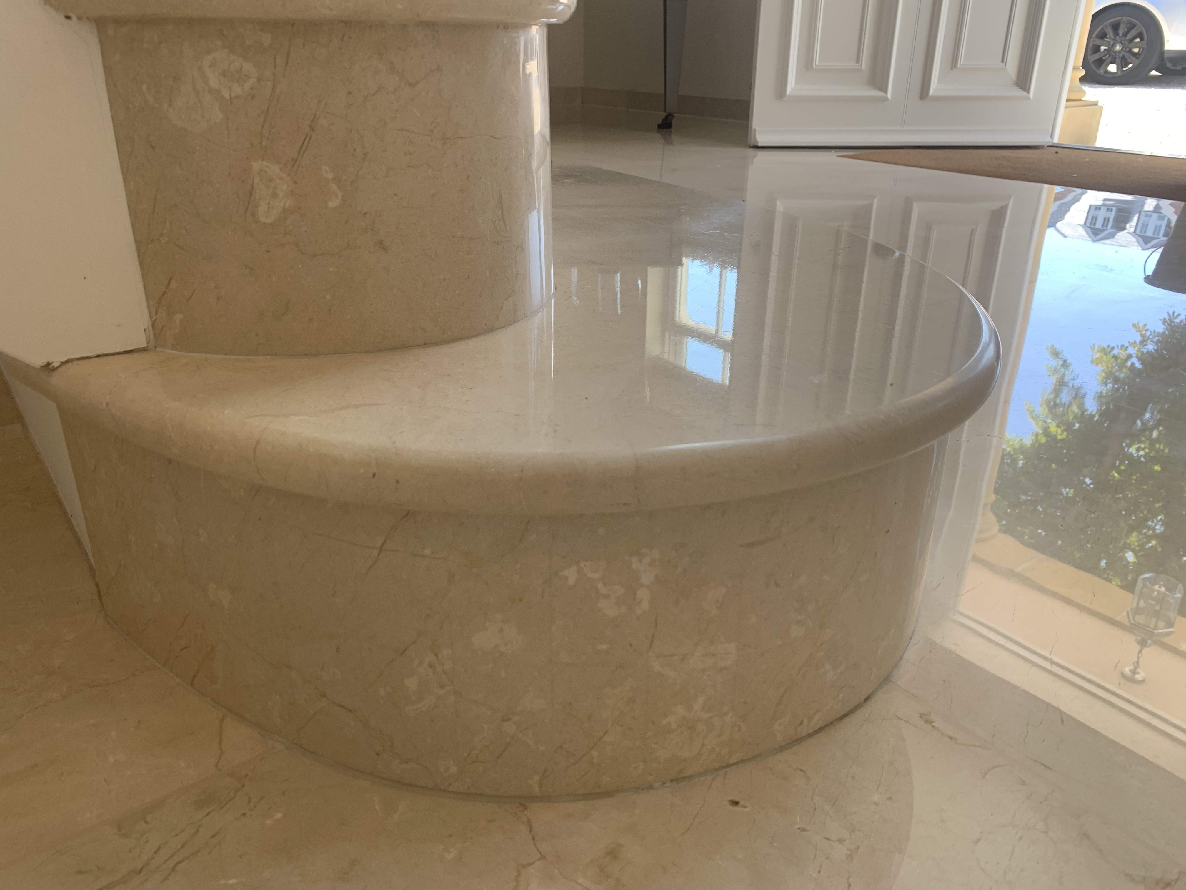 polishing marble step