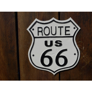 cast iron Route 66 wall plaque.