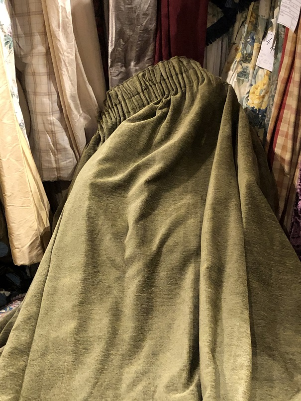 Large Olive Green Chenille Pencil Pleat Curtains W320 D310