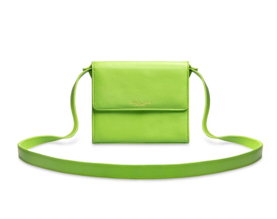 Lime Green Leather Cross Body Bag