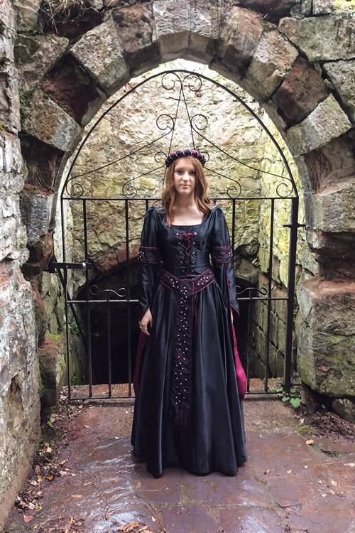 Black, silver and burgundy medieval gown