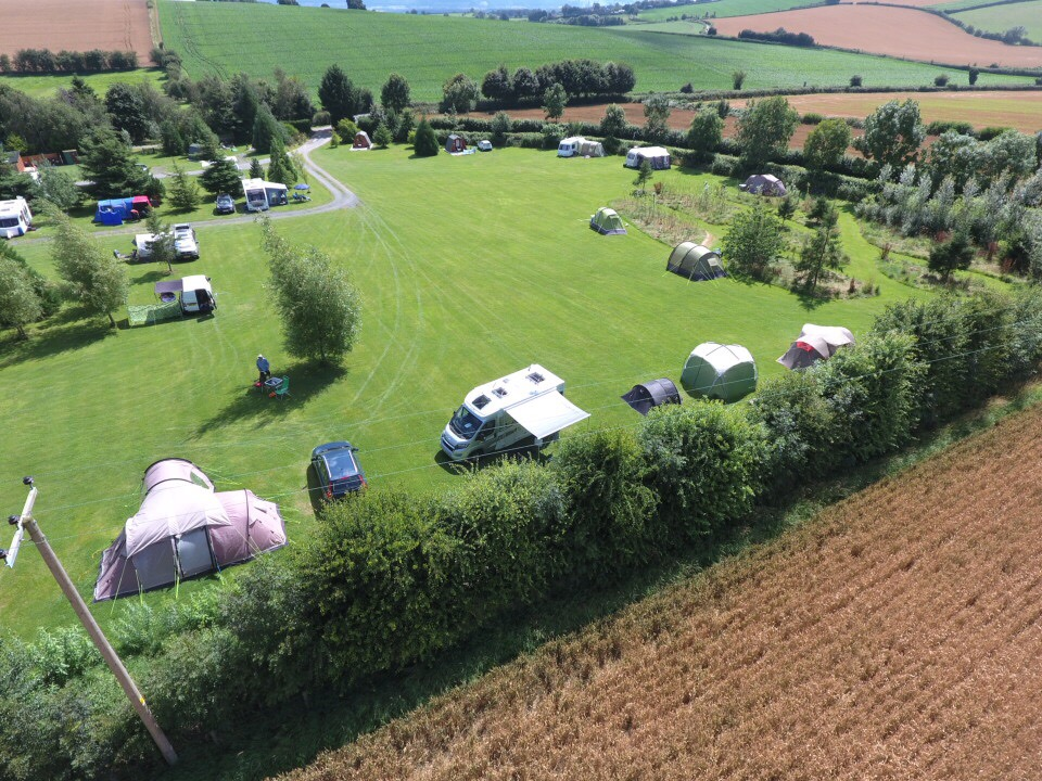 Aerial View of Touring Pitches and Pods