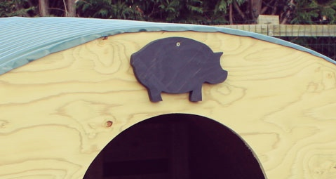 Pig Ark with Chalk Name Board