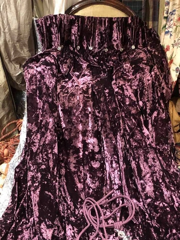 Thick Purple Crushed Purple Curtains W390 D216