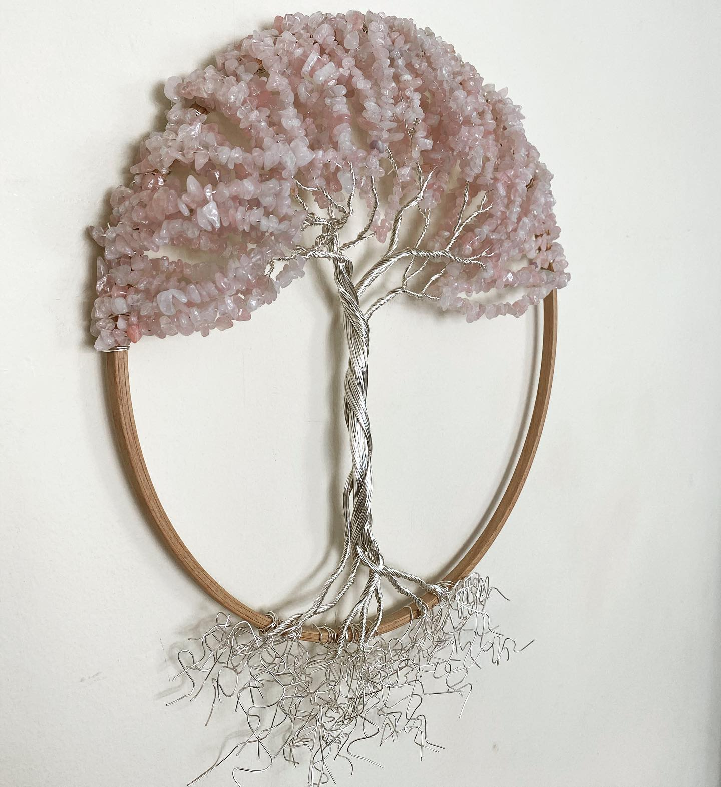 Silver and Rose Quartz tree of life