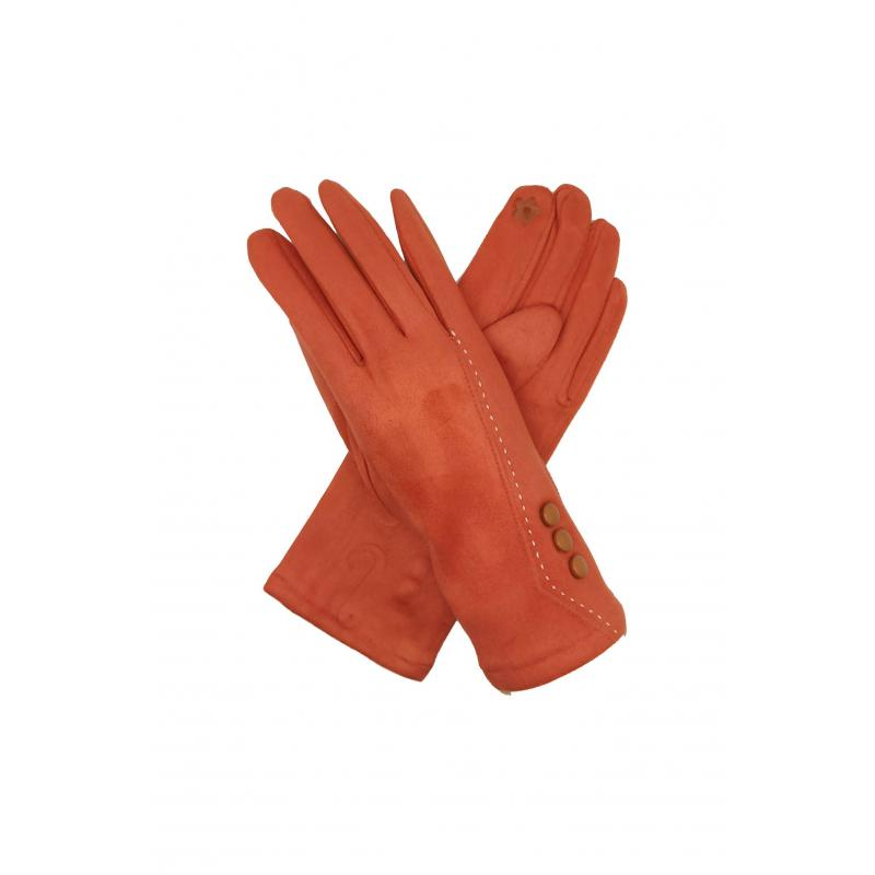 Classic Orange Gloves with Buttons