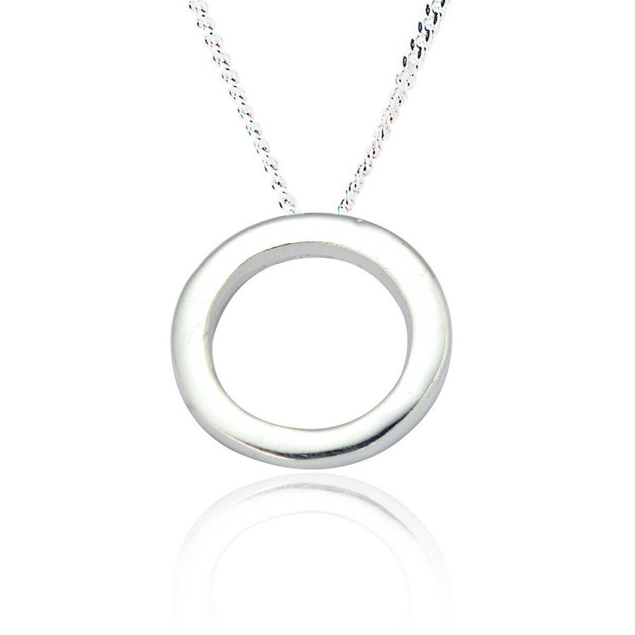 Classic Circle Pendant and Chain in Sterling Silver