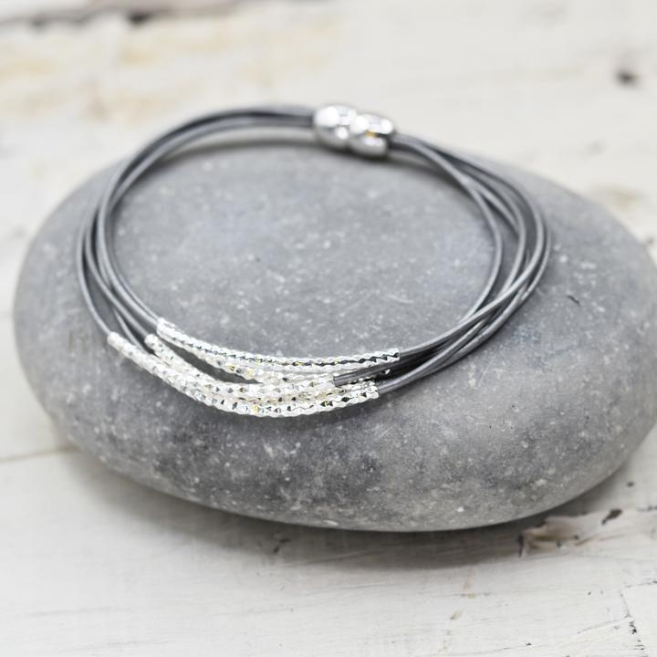 Fine Leather Bracelet with Delicate Silver Detail