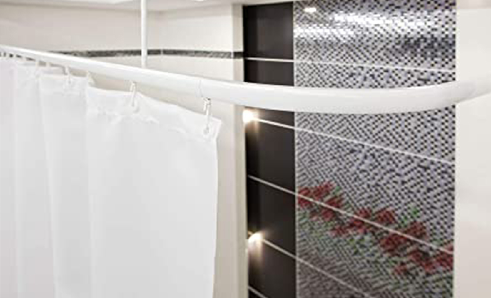 'L' Shaped Shower Curtain Track - White