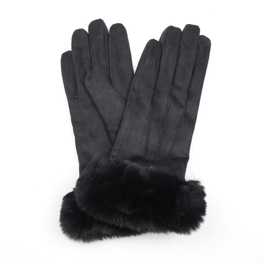 Black Gloves with Faux Fur Cuff