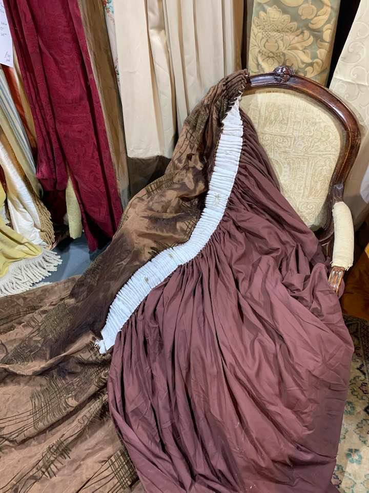 Very Large Chocolate Brown Pencil Pleat Voiles