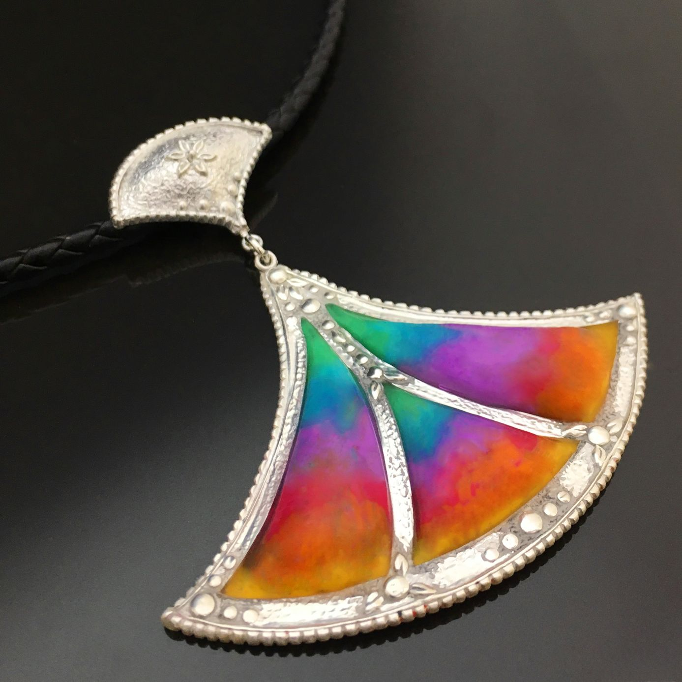 Verre Églomisé Lotus Pendant by Tracey Spurgin of Craftworx Jewellery Workshops