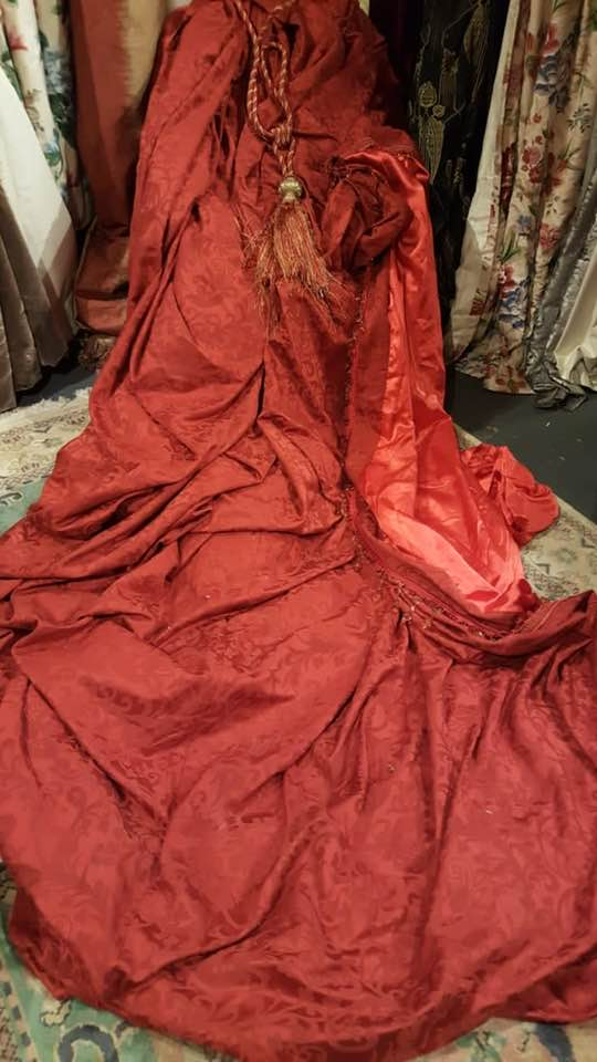 Large Red Damask Single Interlined Curtain W648 D450