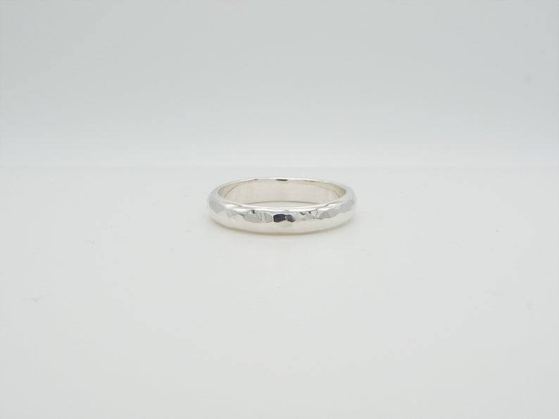 Hammered Silver Ring - Wide - D shaped Band