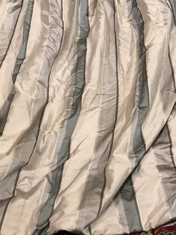 Large Striped Silk Pinch Pleat Curtains W500 D247