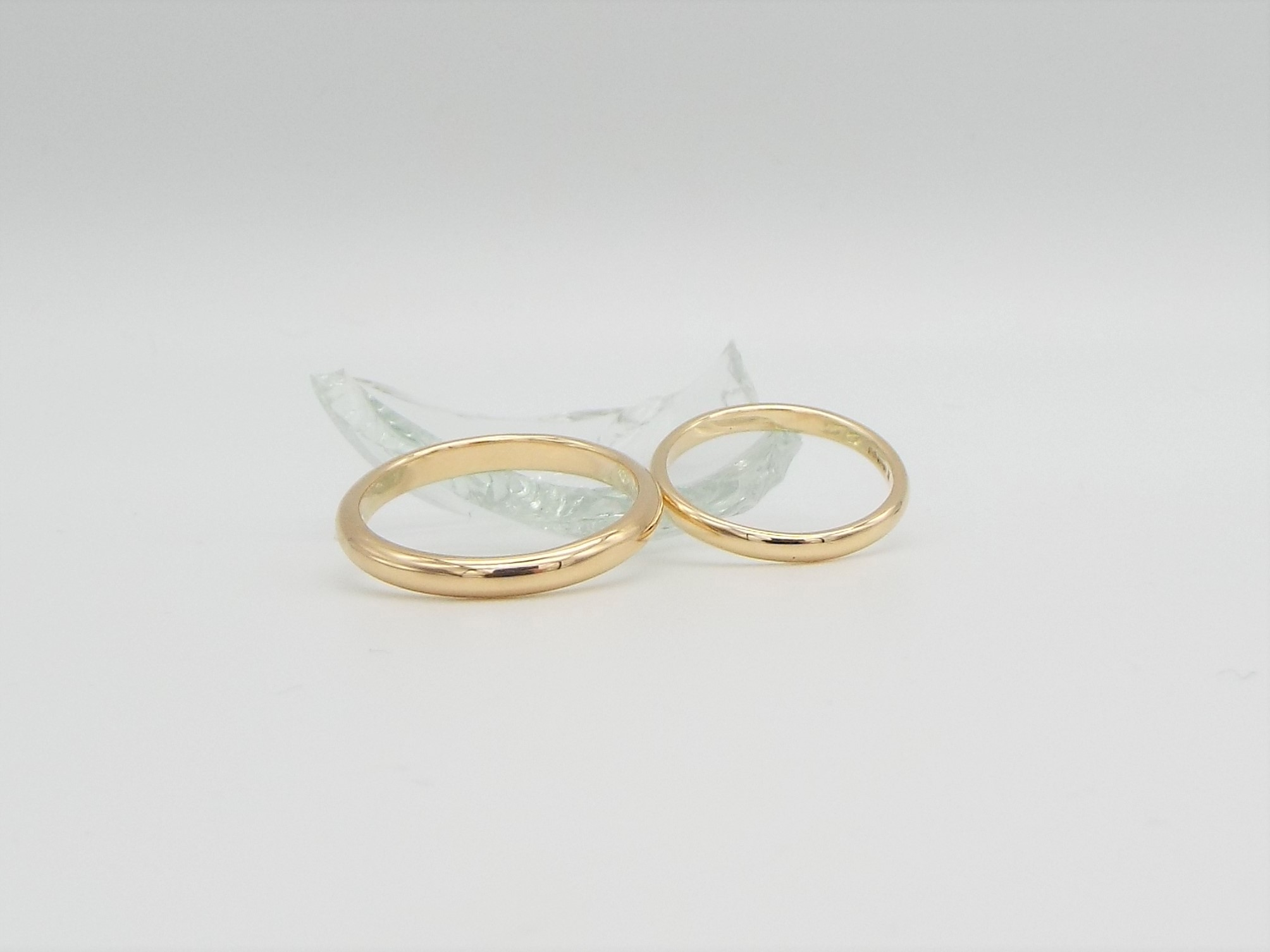 His and Hers Gold Wedding Ring Set - Smooth Polished finish