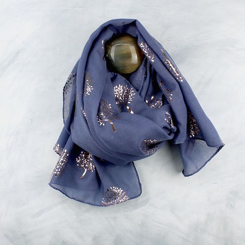 Denim Blue Scarf with Metallic Tree Print POM034