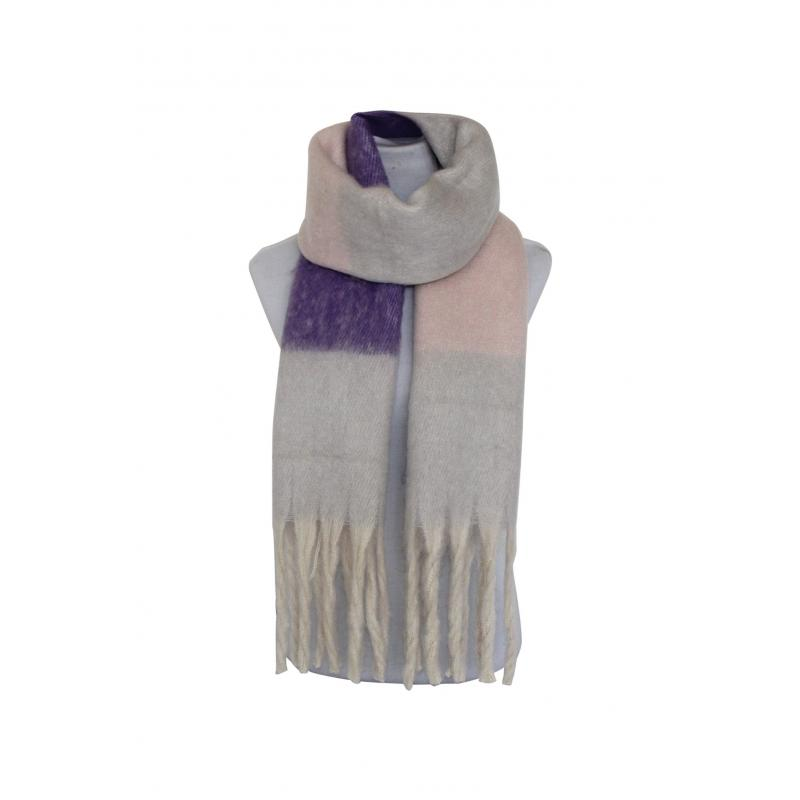 Winter Scarf in Purple/Grey/Pink Check