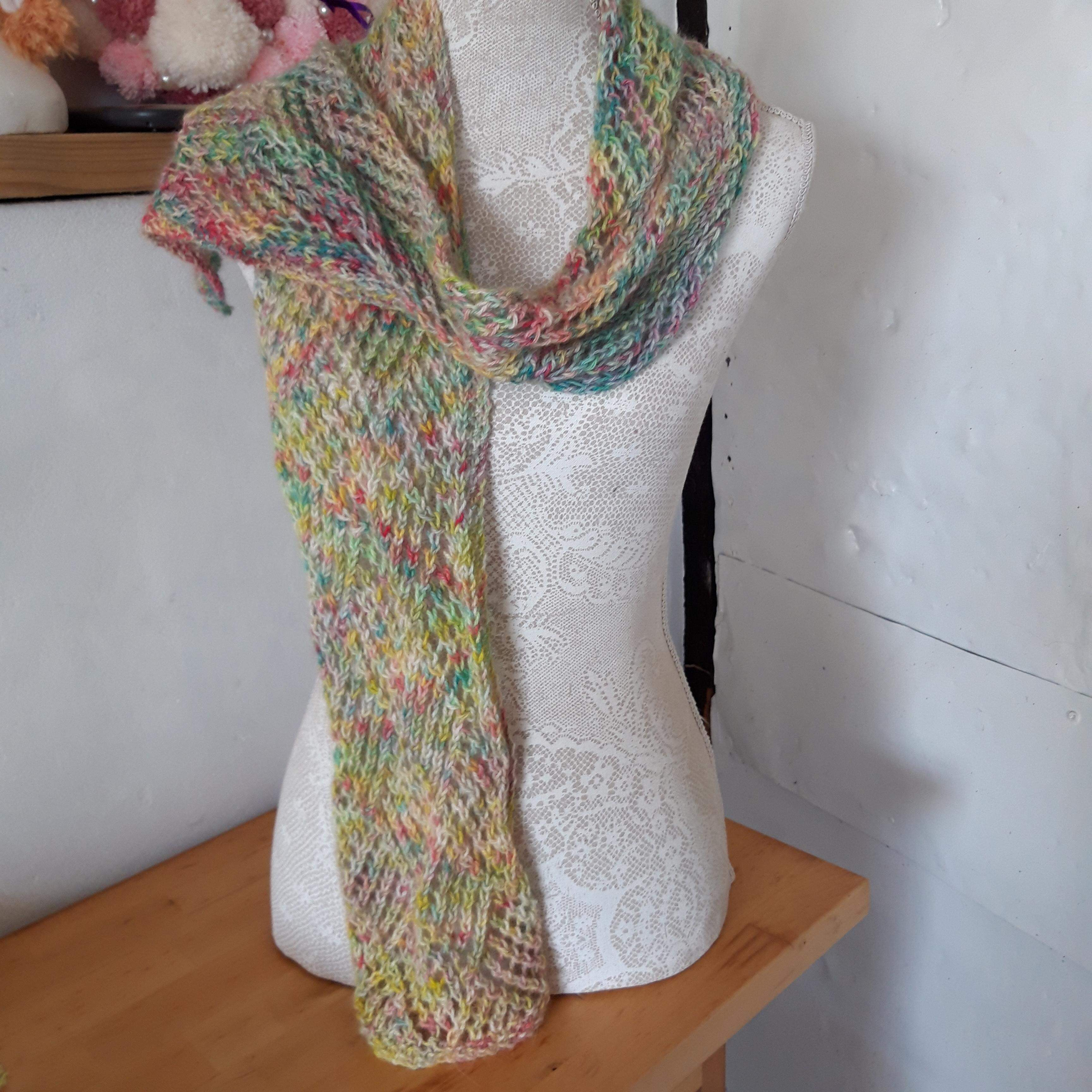 Lacey Hand Knitted Scarf 100% Alpaca