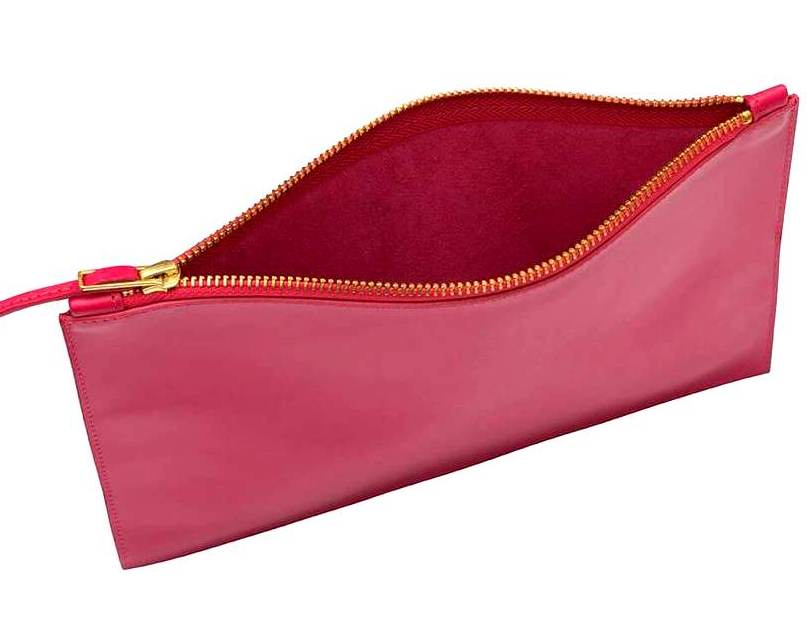 Pink Leather Zip Pouch