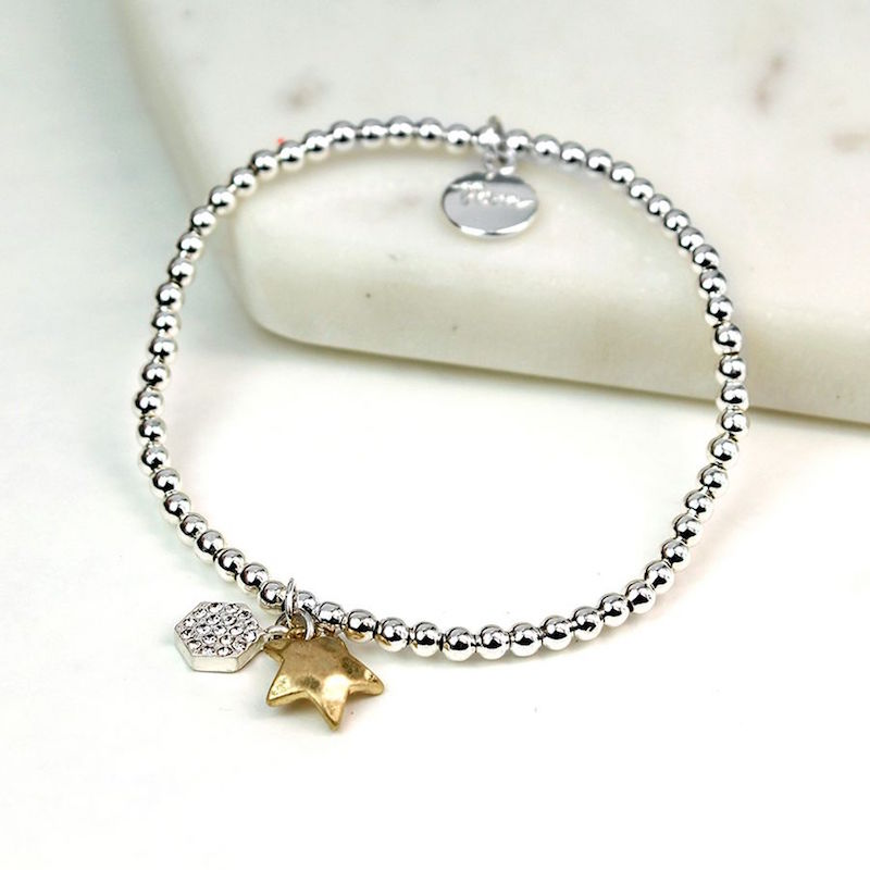 Stretchy Silver Bracelet with Gold Star