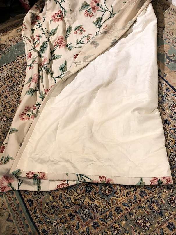 Lovely Interlined Cream Crewel Work Curtains W73 D97
