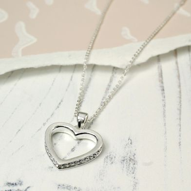 Silver Plated Crystal Edged Heart Necklace POM025