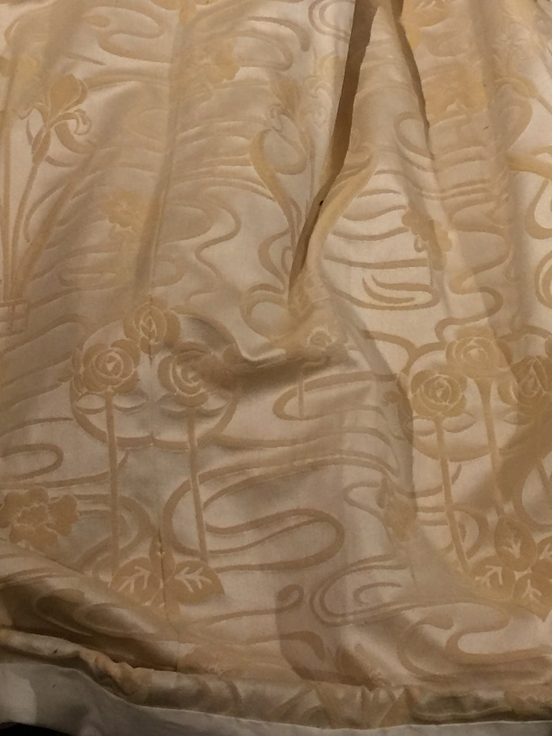 Heavy Cream (Gold design) Pinch Pleated Curtains W78 D96