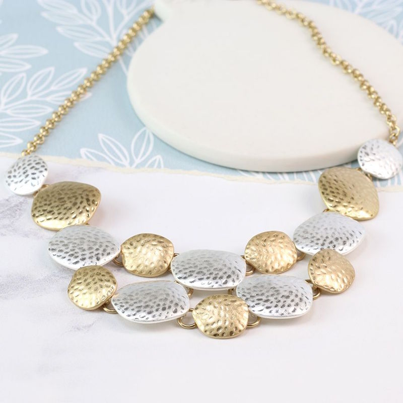 Hammered pebble necklace in brushed silver & gold