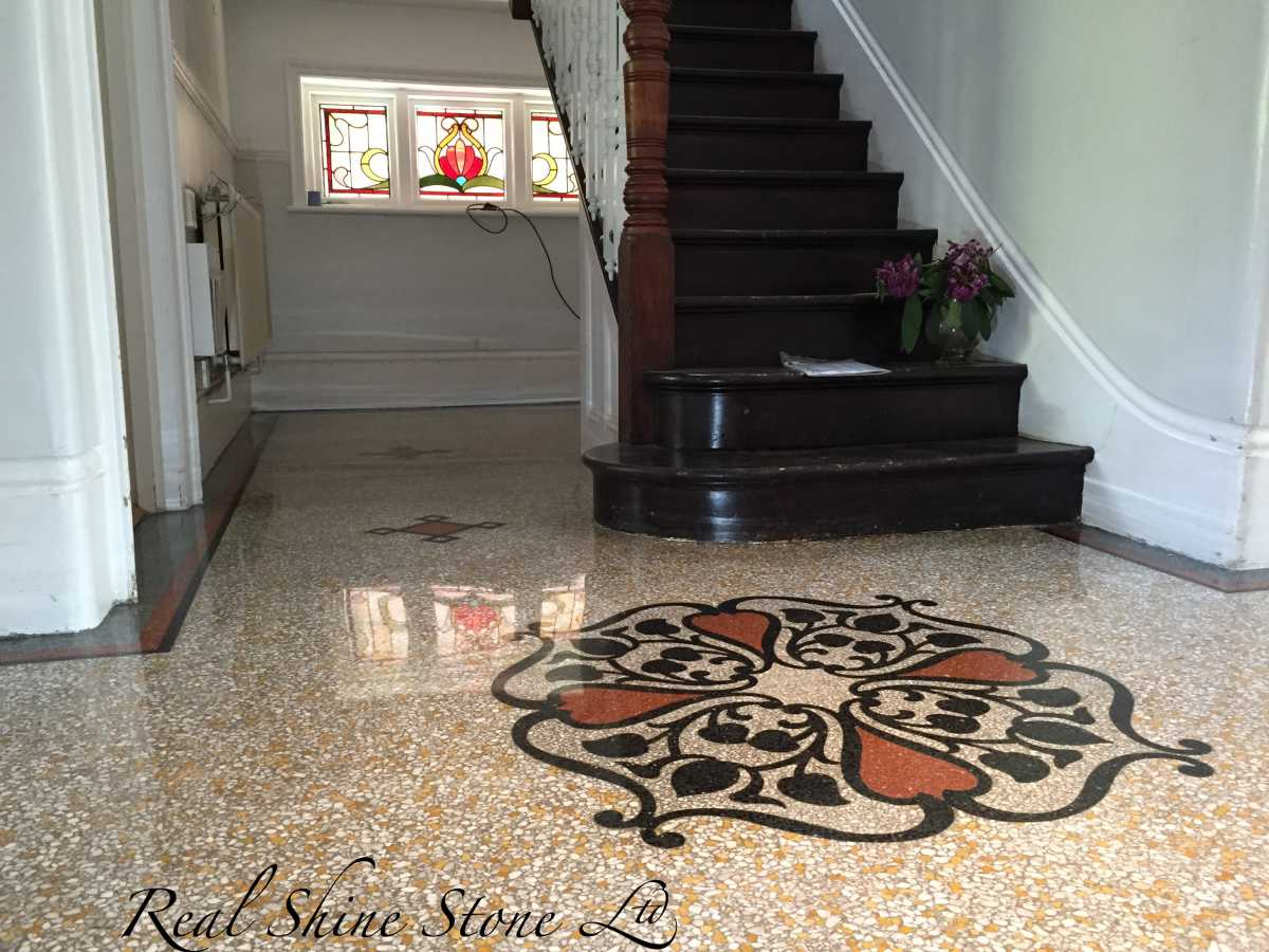 Restoring old terrazzo floor - picture after