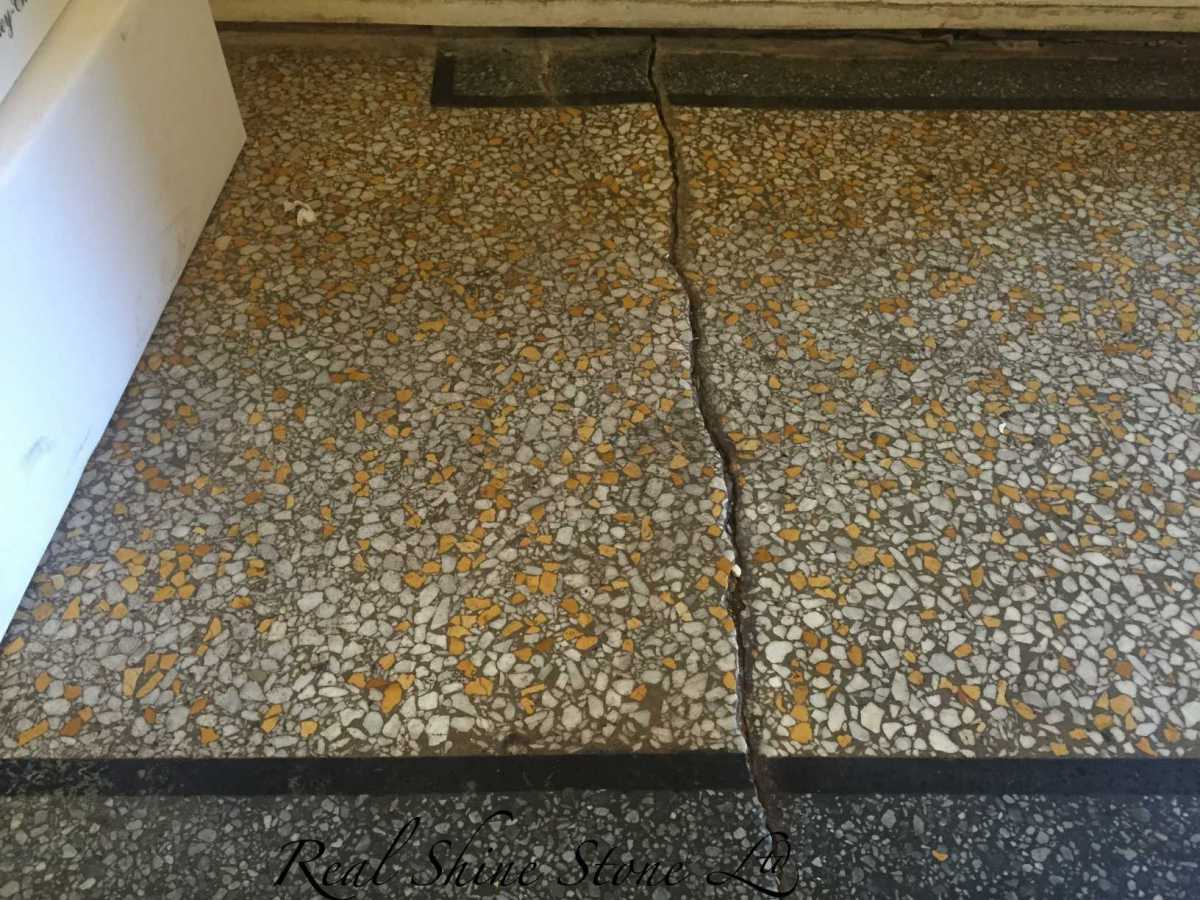 Terrazzo crack repair - picture before