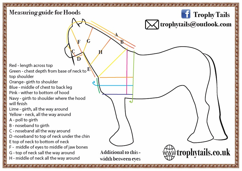 trophy tails lycra hoods measuring guide made to measure